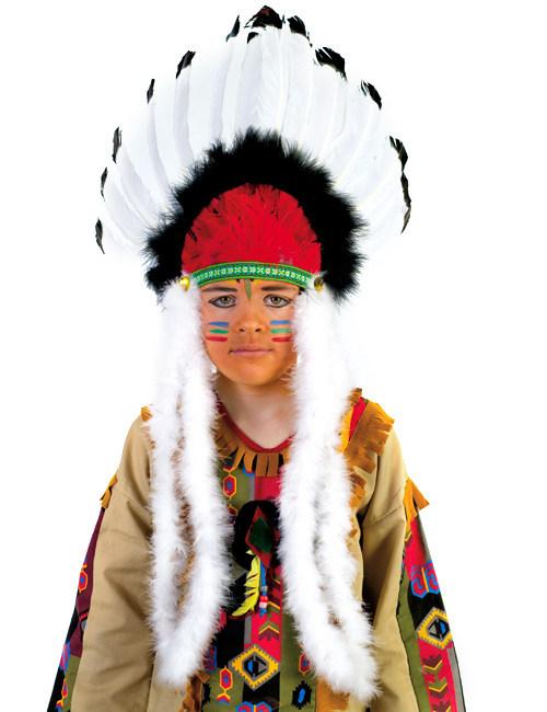 Indianer Hauptling Kopfschmuck Federschmuck Fur Kinder Weiss Schwarz