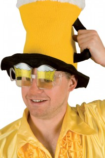 Lustige Bierkrug Spaßbrille weiss-gelb