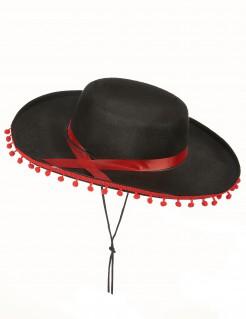 Spanier-Hut Kostümzubehör schwarz-rot