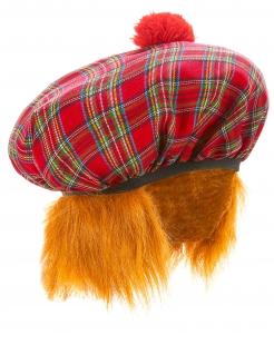 Schottische Mütze kariert rot-grün