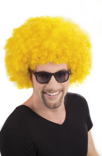 Afro-Perücke Disko Erwachsene gelb