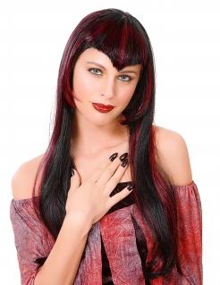 Gothic Vampirin Halloween Langhaar-Perücke mit Strähnchen rot-schwarz