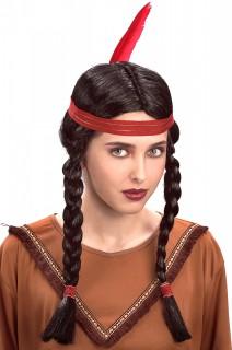 Indianer Damenperücke schwarz-rot
