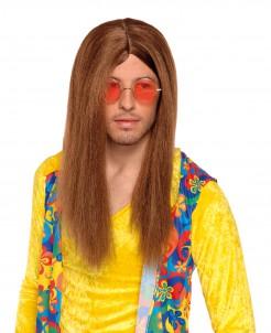 Hippie-Herrenperücke Langhaar-Perücke mit Scheitel braun