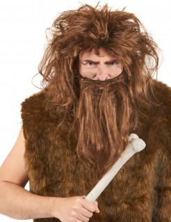 Höhlenmensch Perücke und Bart braun