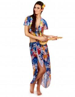 Hawaiianerin Urlauberin-Damenkostüm blau-bunt