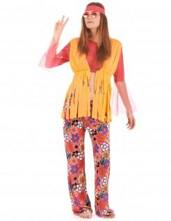 Hippie-Damenkostüm mit Fransenweste pink-orange-bunt