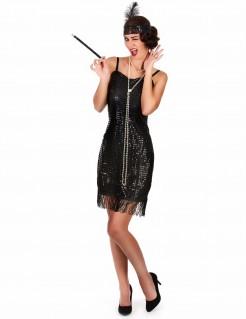 Charleston-Damenkostüm 20er-Kostüm schwarz