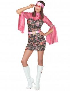 Kurzes Hippiekleid mit Schlagärmeln 60er-Damenkostüm pink-bunt