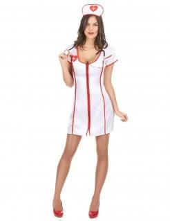 Heisse Krankenschwester Damenkostüm Pflegerin weiss-rot