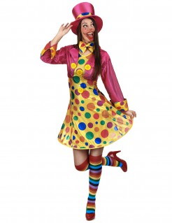 Süsse Clown-Frau Damenkostüm Zirkus gelb-pink-bunt