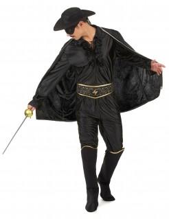 Düsteres Zorro Herrenkostüm schwarz