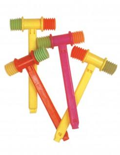 Quietschender Clownshammer mit Pfeife Party-Accessoire gelb-pink