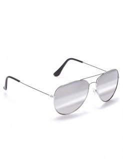 Pilotenbrille silber-schwarz 14x5cm