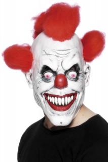 Fiese Clowns-Maske Halloween weiss-rot