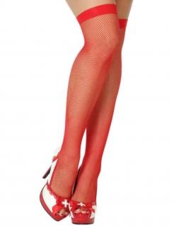 Sexy Netzstrümpfe halterlos rot