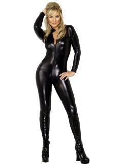 Sexy Catsuit Damenkostüm schwarz