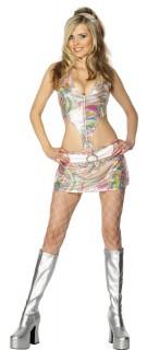Sexy 60er Hippie Damenkostüm bunt