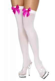 Overknees weiß mit Schleife pink
