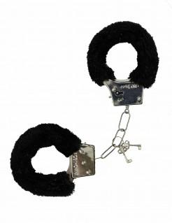 Fell-Handschellen Kostüm-Accessoire schwarz