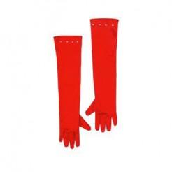 Lange Handschuhe Satin-Optik für Kinder rot