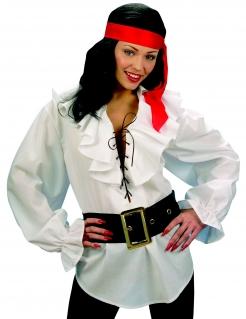 Piratenhemd mit Schnürung und Rüschen weiss