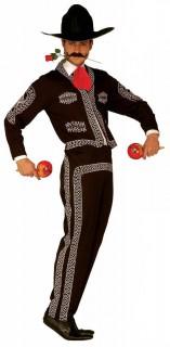 Mariachi Herren-Kostüm Mexikaner schwarz-weiss-rot