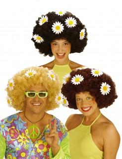 Hippie Afro Damen-Perücke mit Blumen