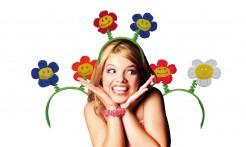Witziger Blumenhaarreif Kostüm-Accessoire bunt