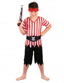 Piraten-Kinderkostüm Piratenschiff-Matrose schwarz-weiss-rot