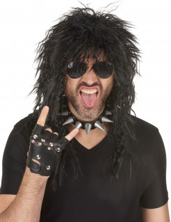 80er Rocker Perücke schwarz