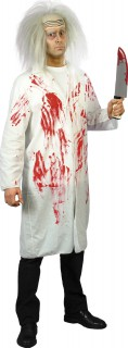 Verrückter-Wissenschaftler-Kostüm blutiger Arztkittel für Halloween weiss-rot