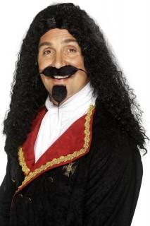 Musketier Herren-Perücke Karneval schwarz