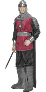 Ritter Karneval-Kostüm rot-grau
