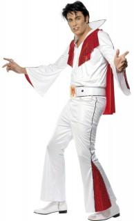 Elvis Kostüm Lizenzware weiss-rot