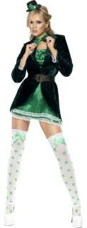 Glücksfee Damenkostüm Kobold grün-weiss