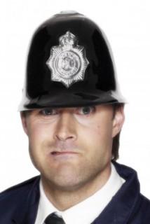 Polizeihelm Briten-Look schwarz-silber