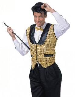 Disco-Weste 70er-Pailletten-Jacke für Herren gold-schwarz