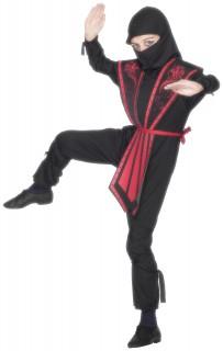 Ninja Kriegerkostüm für Kinder schwarz-rot