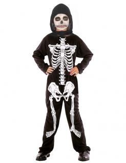 Jungen Skelett Halloween-Kostüm schwarz-weiss
