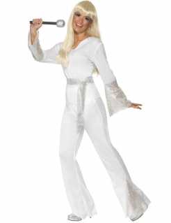 70er Disco Damen-Kostüm Karneval weiss