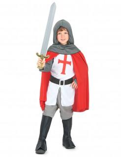Mittelalterliches Kreuzritter Kinderkostüm weiss-rot-grau