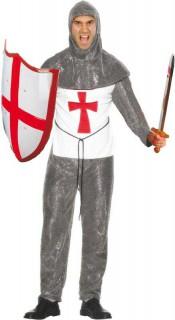 Kreuzritter Mittelalter Herrenkostüm grau-weiss-rot