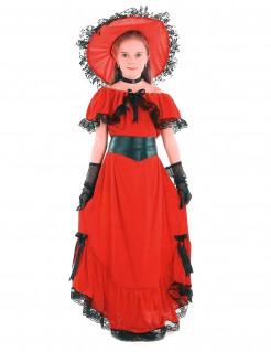 Scarlett-Kinderkostüm Wilder Westen Südstaaten-Lady rot-schwarz