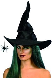 Gebogener Hexenhut mit Spinne schwarz