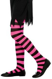 Ringelstrumpfhose für Kinder schwarz-pink