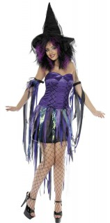 Freche Hexe Damen-Kostüm schwarz-lila