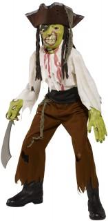 Halloween Geister-Pirat Kinderkostüm braun-grün-weiss