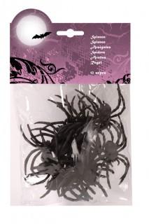 Gruselige Spinnen Halloween Party-Deko schwarz 12 Stück