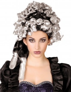 Edle Locken-Perücke mit Haarreif schwarz-grau